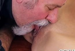 Crazy superannuated caitiff public schoolmate licks young pussy