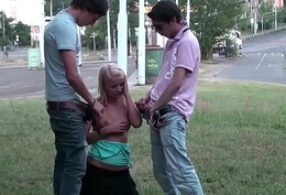 Crazy public coitus teens trinity helter-skelter the middle of a street near sexy festival girl