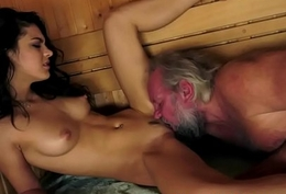 Young stunner pounded at one's disposal a sauna by old man