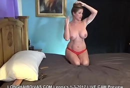 longhaired Leona comme ‡a milf cums relating to dildo &amp_ displays her floorlength hair