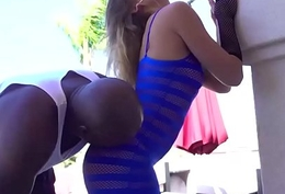 Hot Mart Rita Fall upon stripteases Lexington with the brush see-through dress