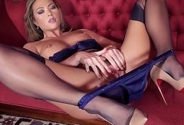 Beauteous nylon lingerie heels muff tease
