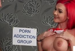Busty redhead voyeur humiliating tugging sub