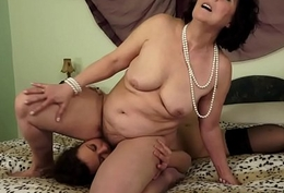 Grown-up lesbian rimmed by a pretty youthful maid