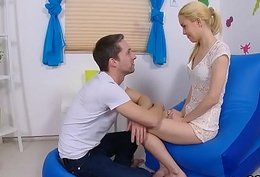 Man assists with hymen examination with an increment of shagging of mint unshaded
