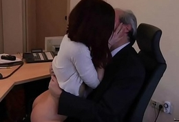 Old Young Porn My Wet-nurse Drilled Their way Boss in the office and drank cum