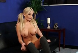 Busty dominant-bitch watches cock
