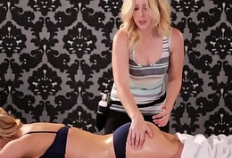 Busty nourisher and her newbie masseuse daughter - Cherie DeVille and Samantha Rone