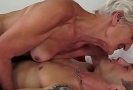 Smalltit grandma banged in their way gradual pussy