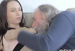 Cute youthful wench fucked by old boy
