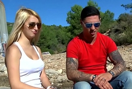 Myfirstpublic Two hot chicks skit naughty joke with young muscle stranger cause of