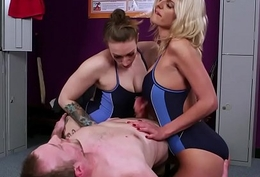 Big-busted british swimsuit babes tug in CFNM trio