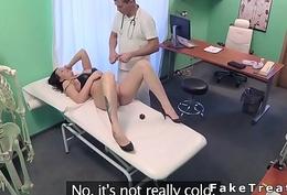 Nasty brunette invalid rides doctors cock