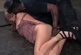 Bound sub fingered on touching interracial bdsm duo