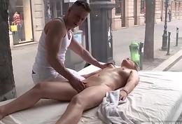 Brunette flustered by the masseur fucks him roughly