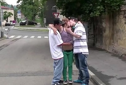 Street sex teen triple with a blonde teen hottie Alexis Beaker and 2 guys