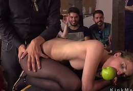 Slave receives pussy pinched here public