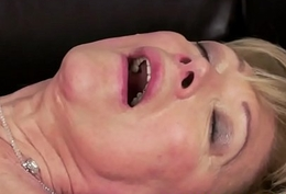 Cocksucking granny swallows warm cum