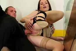 Nifty clothed euro cum