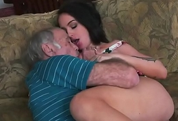 A slutty young brunette termagant takes be responsible for of a sex-crazed grandpa'_s dick