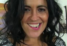 Spanish milf Montse Swinger dildo fucks nyloned vagina