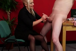 Dominating milf engulfing and jerking in cfnm