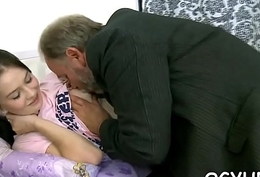 Sweet juvenile gal licked by pold lady's man