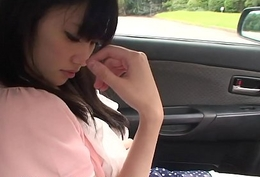 Precious and cute teen getting caressed anent the car