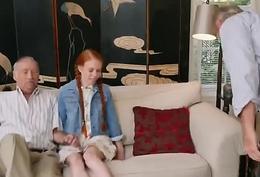 Grandpa drills redhead teen'_s vagina