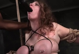 Bigtitted bdsm be agreeable to gagging beyond everything maledoms dildo