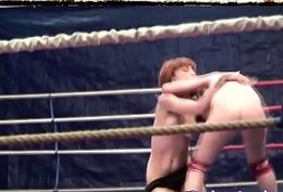 Redhead lesbian wrestling and kissing
