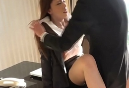 Busty office newhalf fucked into ass by coworker