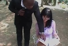 Italian unfocused with glasses ready encircling be banged away from a black guy