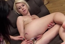 Frisky czech girl opens up her soft slit down the bizarre